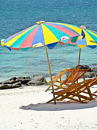 Relax time, an umbrella and two chairs