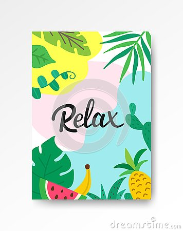 Relax tropical poster A4. Hand drawn lettering with leaves and fruits. Summer holiday concept. Tropical vacation banner Vector Illustration