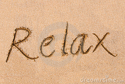 Relax word on sand