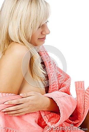Relaxation blonde in bathrobe