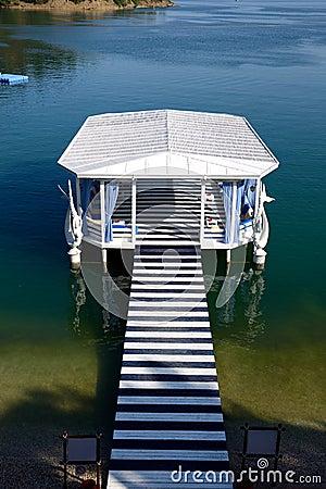 Relaxation building near beach on Mediterranean turkish resort