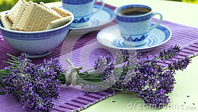 Relaxation with lavender and coffe