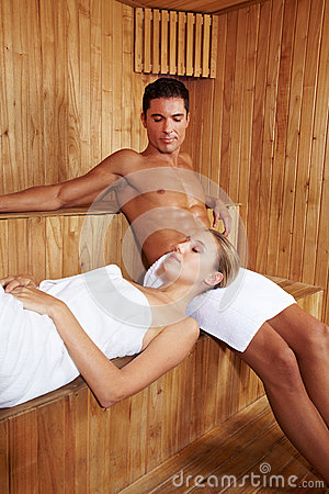 Relaxation in sauna