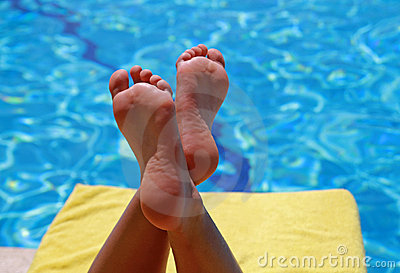 Relaxation at swimming pool