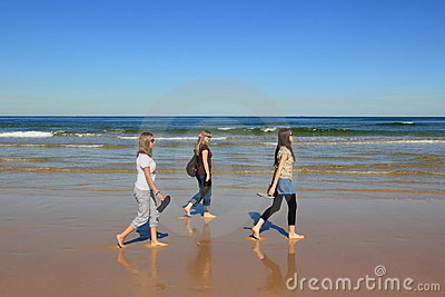 Woman beach walk