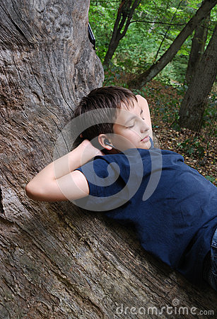 Relaxed boy on the old trunk