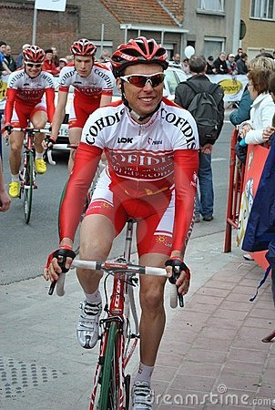 Relaxed Cofidis rider before the start Editorial Photography