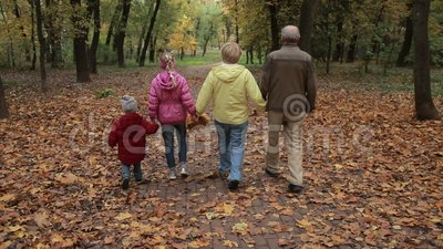 Grandparents with kids walking along autumn path stock footage