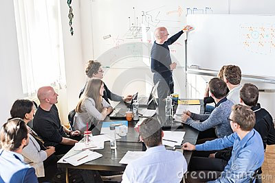 Relaxed informal IT business startup company team meeting. Stock Photo