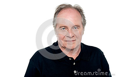 Relaxed senior caucasian male looking at you