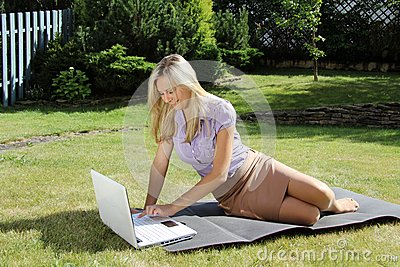 Relaxed woman with laptop