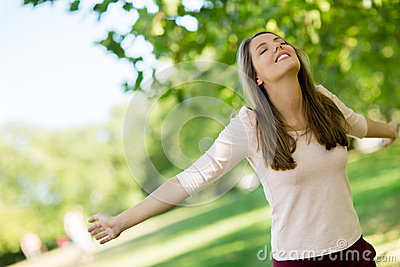 Relaxed woman at the park