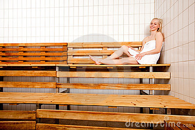 Relaxed Woman in Sauna