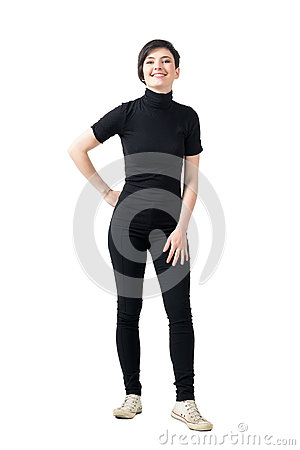 Free Relaxed Young Fashionable Girl In Black Turtle Neck T-shirt Posing And Smiling At Camera. Royalty Free Stock Photography - 78907517