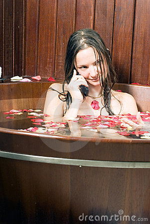 Free Relaxed Young Girl In Bathtub - Vertical Royalty Free Stock Photo - 5509615