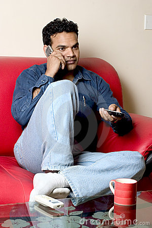 Free Relaxing At Home-talking On Mobile Stock Images - 4647714