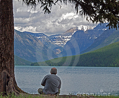 Relaxing at Bowman Lake