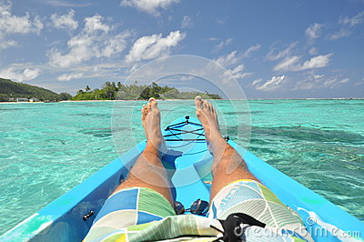Relaxing in a canoe - Rarotonga, cook Islands