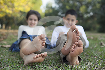 Relaxing children in the nature