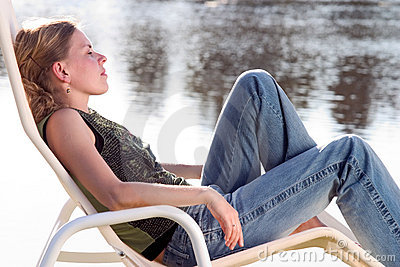 Relaxing on a deckchair