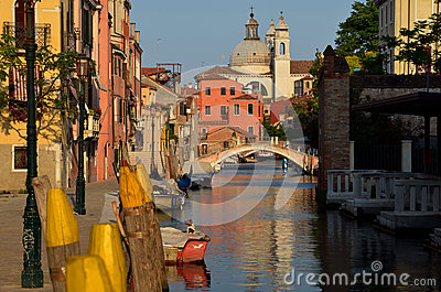 Relaxing evening on a Venetian canal