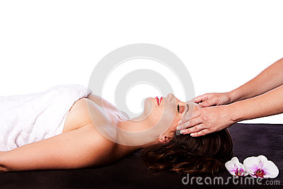 Relaxing Facial massage in spa
