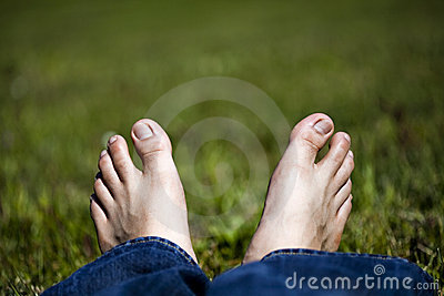 Relaxing Feet on Grass
