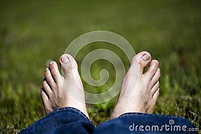 Relaxing Feet on Grass