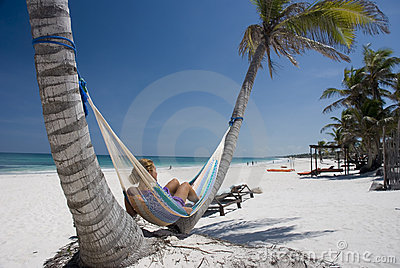 Relaxing on the hammock