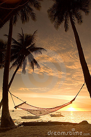 Relaxing hammock sunset