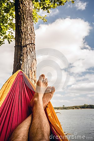 Free Relaxing In The Hammock At The Beach Under Trees, Summer Day Royalty Free Stock Photos - 114879218