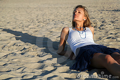 Relaxing on sand