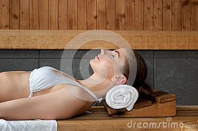 Relaxing at sauna