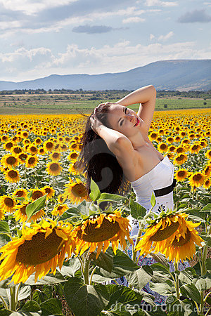 Relaxing in a sunflower field