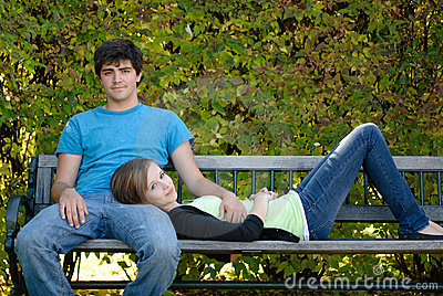 Relaxing Teenage Couple