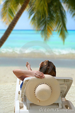 Free Relaxing Tropical Woman Stock Photography - 9845872