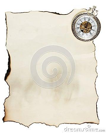 Relógio de bolso do vintage e papel velho