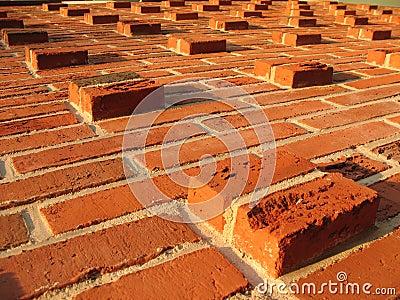 Relief masonry brick wall