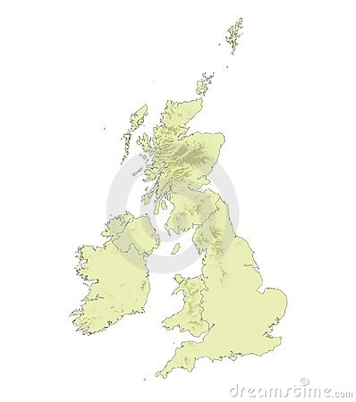 Relief United Kingdom map