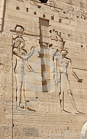 Free Reliefs On The Walls Of The Temple Of Philae. Egypt. Stock Images - 43774764