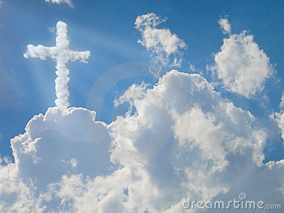 Religion cross. clouds concept