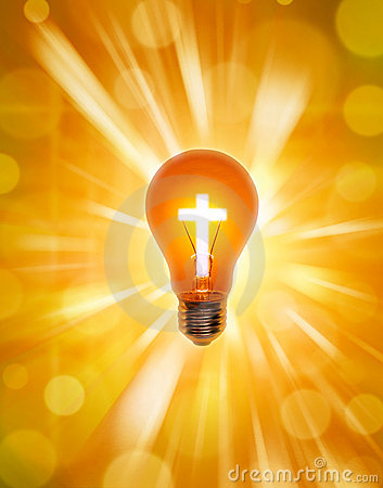 religion cross light bulb christianity stock images