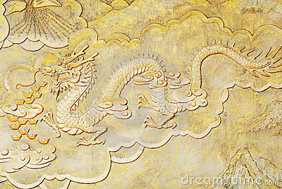 Religion golden relief of dragon