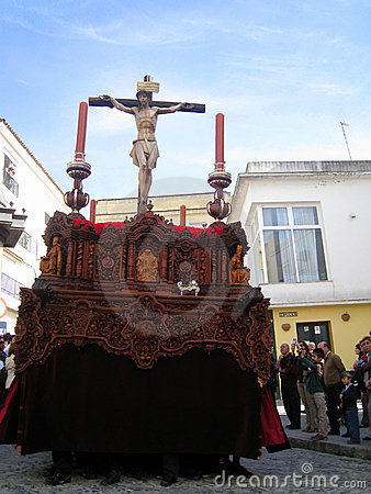 RELIGIOUS CAR IN JEREZ, SPAIN Editorial Stock Photo