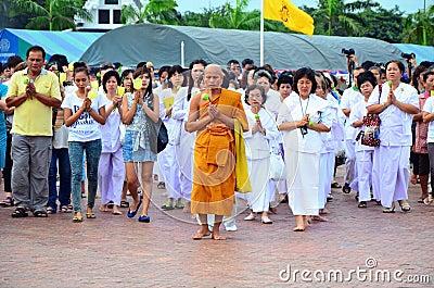 Religious ceremony on Asarnha Bucha Day Editorial Stock Image