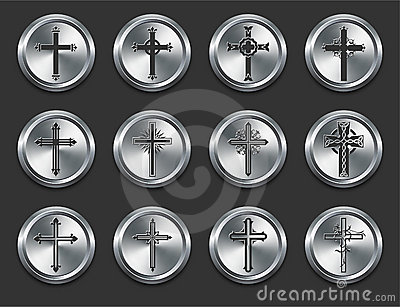 Religious Cross Icons on Metal Internet Buttons