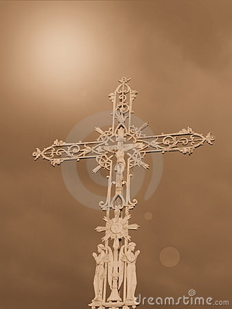 Religious cross and sky