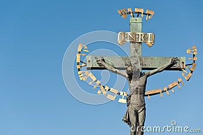 Religious detail of Charles  Bridge in Prague