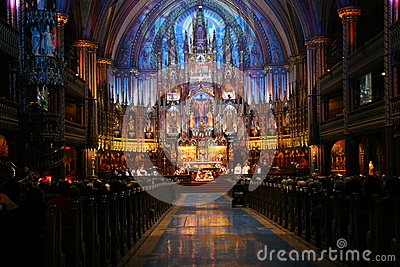 Religious event in Notre Dame Basilica Montreal Editorial Stock Photo