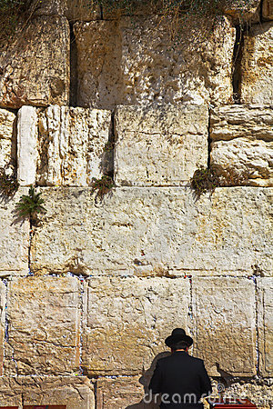 The religious Jew praying at the Western wall